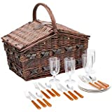 Cilio 155105 Como - Cesta de picnic de mimbre para 4 personas, colore marrón