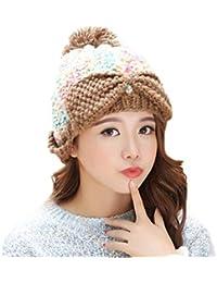 YN Sombrero Mujer Invierno Ola Coreana Moda Cálido Sombrero de Punto  Orejeras Lindas Gorra de Lana ec2e4be0753