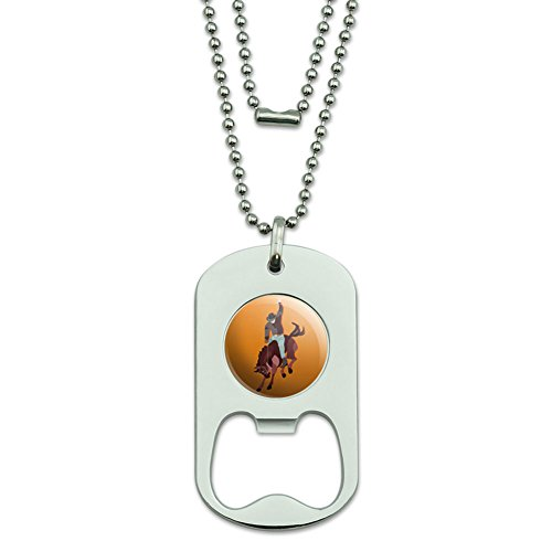 Rodeo Cowboy Orange – Western Pferd Country Dog Tag Flaschenöffner (Country-western-rodeo)