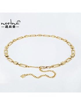 SILIU*La polea pequeña decoración salvaje de la correa de la cadena de metal fino HEMBRA hembra enlace cintura...