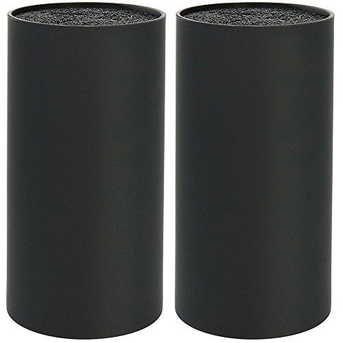 COM-FOUR® 2x Universal-Messerblock mit Fasereinsatz, Allzweckbox, Ø 11 cm, schwarz (02 Stück - schwarz Faser)