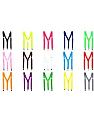Bunte Neon & Uni Farben - Y - Hosenträger mit 3 Clips Party Business