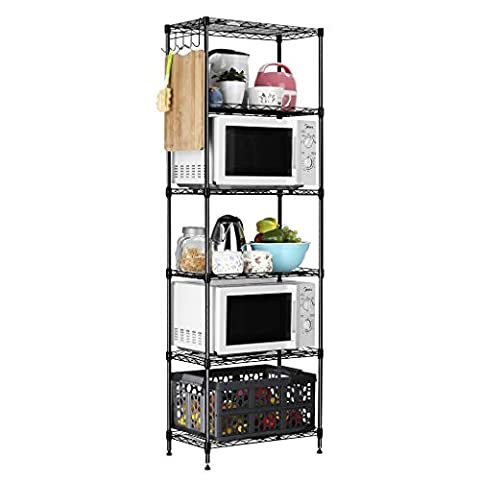 LANGRIA 6 Tier Modern Storage Organization Rack and Shelving Set with 5 Hooks, 66.1lbs Capacity