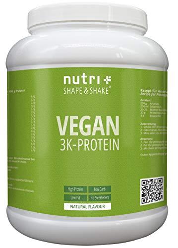 VEGANES EIWEIßPULVER Neutral ohne Süßstoff | 85,8{2f6465305c6da2830813be484a05faceef8a11bd5559d6972ded804d36295910} Eiweiß | 1kg | Nutri-Plus Shape & Shake Vegan | Proteinpulver | auch zum Kochen und Backen