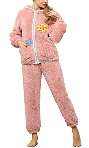 Dolamen Damen Schlafanzug Weihnachten Kleider mit Kapuze, Warm Ladies Flanell DICK Pyjamas mit Reißverschluss in Winter, Lange Ärmel Hose Schlafanzüge Schlafen Freizeit (Rosa, Medium=EU S) (Pyjama-hose Schlafen Flanell)