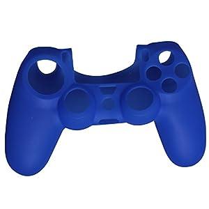 Timorn Silikon Soft Gummi Skin Schutzhülle für PS4 Controller Griff (Blau)