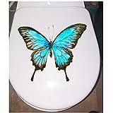 Annqing 3Pcs Handgemalte Blaue Schmetterlings-Baby-Schlafzimmer-Wand-Dekor-Abziehbilder Wc-Toiletten-Aufkleber 22X18Cm