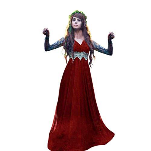 Damen Mittelalterkleid Ärmelloses Kleider Gothic Viktorianischen Königin Kostüm V-Ausschnitt Renaissance Medieval Princess Dress Elfen-Cosplays Fantasy-Kostüme Erwachsene Cosplay Karneval Fasching