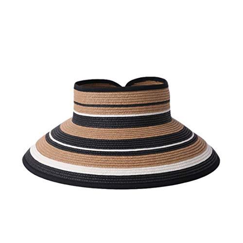 Beach Top Hat Faltbarer UV-Strohhut Summer Sun Korean Sun Visor Sun Hat Hut (Farbe : Khaki, Size : 56-58cm)