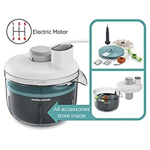 Morphy Richards 401012 Prepstar Food Processor for Innovative Meal Prep with All in One Easy Storage Solution, BPA Free Mixing Bowl, 350 W, White