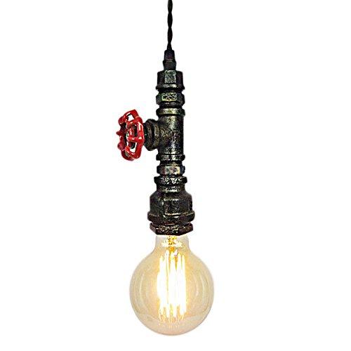 globalma E27Loft Industrie Edison Lampe Deckenleuchte Kronleuchter, Vintage Mini Rost Metall Wasser Rohr Single Anhänger Licht für Küche Bar Schlafzimmer Decor