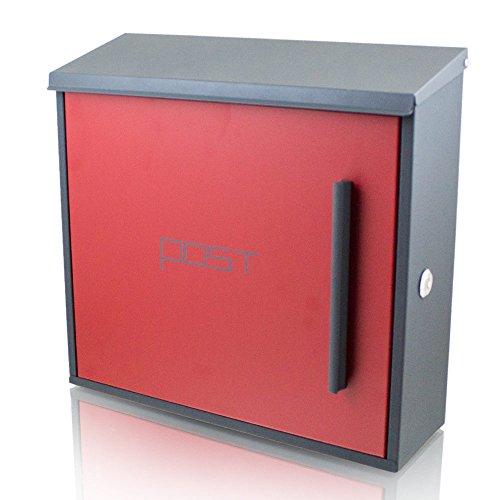 BITUXX® Wandbriefkasten Design Briefkasten Postkasten Mailbox Dunkelgrau Front Rot Schloss seitlich Postkasten