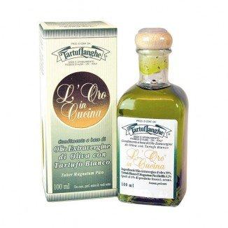 Tartuflanghe - oro in cucina: olio extrav.d'oliva con tartufo bianco in fette (tuber magnatum pico) 100ml