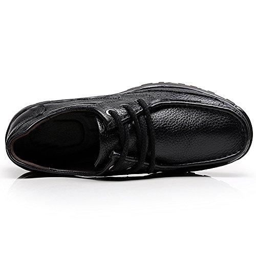 Shenn Herren Kleid Lace Up Work Space Geschäfts-Leder Oxfords Schuhe 1620 Schwarz