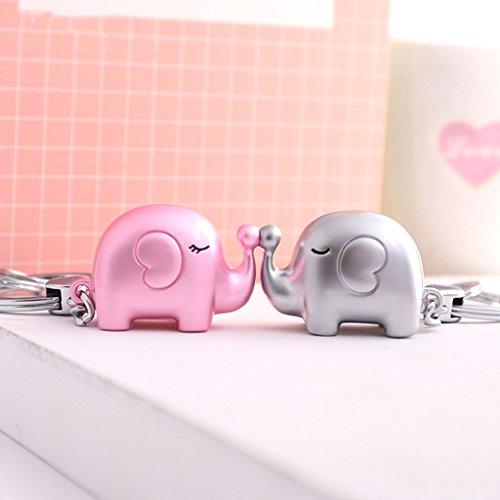 Cs 2 combinazioni di coppia di elefanti anello portachiavi creativo catena gancio per auto cartoon carino rosa argento viola ( color : pink+silver )