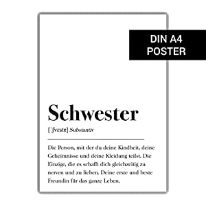 Schwester Definition DIN A4 Plakat