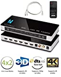 HDMI Switch 4k,Splitter True Matrix 4x2 Commutateur 4 entrées 2 Sortie 4k 3D, Automatique vec télécommande,HDCP,PIP Arc EDID SPDIF 3.5 mm et RCA,Audio extraceur