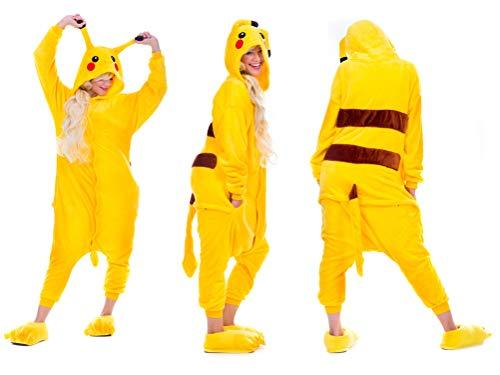 Pikachu Pyjamas Kostüm EINHORN KOH Jumpsuit Erwachsene Unisex Tier Cosplay Halloween Fasching Karneval Plüsch Schlafanzug Tierkostüme Anzug Flanell (S, PIKACHU)