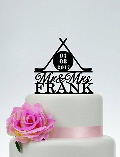 nd Frau Hockey Thema Hochzeit Hockey Fan Hochzeit Hockey Party Tortenaufsatz für Hochzeit Jahrestag Geschenke Hochzeit Partyzubehör Kuchen Topper ()