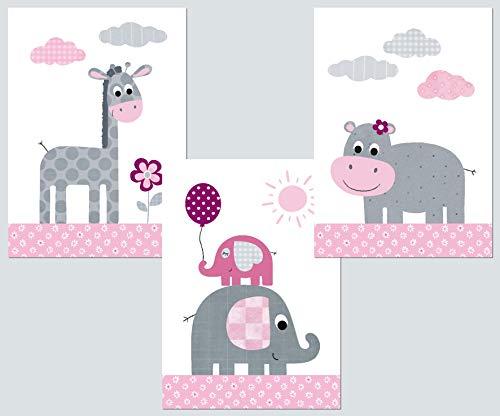 zimmer Bilder 3er Set DIN A4 I Babyzimmer Deko Mädchen Dschungel-Tiere (rosa-grau 2) ()