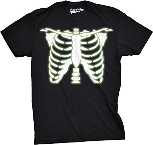 Crazy Dog Tshirts Youth Glowing Skeleton Rib Cage Cool Halloween T Shirt (Black) M - Jungen - - Halloween Nerdy Witze
