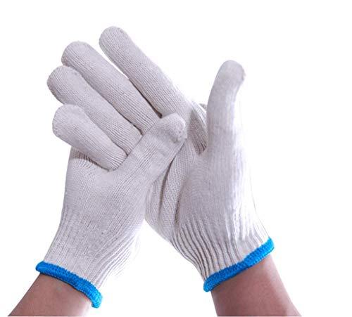 QTQZ Arbeitsschutzhandschuhe, Verschleißfeste Rutschfeste Dicke Baumwolle Arbeitsschutzhandschuhe, Geeignet Für Wartung, BAU, Outdoor, Grill, Gartenarbeit (weiß)