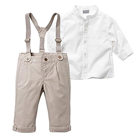 Balai bébé garçons 2PCS Set blanc chemise T-shirt + marron