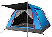 Charhoden SQ-087-B Large size Automatic Four Sided Tent For Campinh Hiking fishing, Blue - Blue, Large