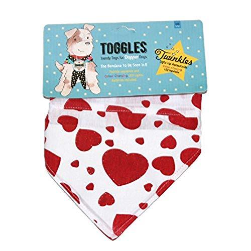 Phileas Dogg Toggles Twinkles Hunde Halstuch (Medium/Large) (True Love Herzen) -