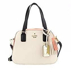 Cathy London Womens Handbag, Material- Syntethic Leather, Colour- Peach/Beige