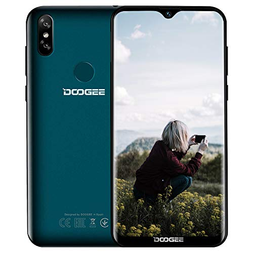 DOOGEE Y8 Offerte Cellulari 4G-2019 Android 9.0, Smartphone Economico 3400mAh Batteria Dual SIM 6.1 HD (19:9) Quad-Core, Telefono in Offerta 3GB+16GB, 8MP+5MP, Face Unlock/WiFi/GPS-Verde