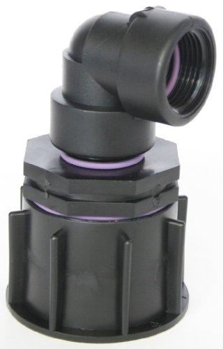 'ame80 _ 84 Bec Adaptateur S60 x 6 filetage épais avec raccord de réduction AG 1 + Adaptateur angle 90 °, IBC Réservoir Eau de Pluie de Accessoires de conteneurs Mamelon de Bidon, tonne, zysterne