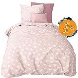 Aminata Kids Biber Bettwäsche Sterne 135x200 cm + 80x80 cm aus Baumwolle mit Reißverschluss, unsere Kinderbettwäsche mit Stern-Motiv ist weich und kuschelig