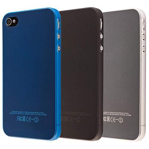 ECENCE Apple iPhone 4 4S Juego de 3 x Protective TPU Funda de Silicona de Gel Juego de 3, Negro,...