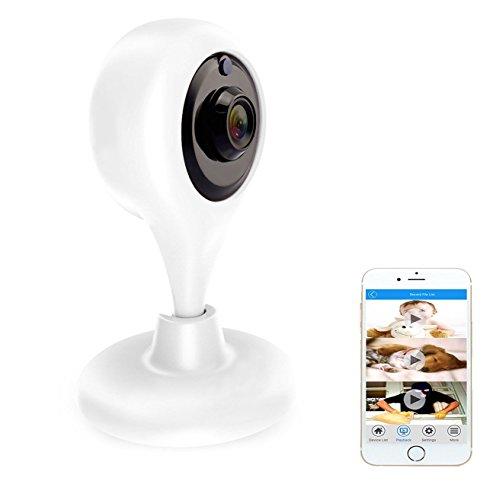 Videocamera di Sorveglianza, Amotus telecamera di sicurezza Wireless N, Rilevatore di Movimenti e Suoni, Visore Notturno,Notifiche Push per PC/iPhone/iPad/Smartphone, Bianco