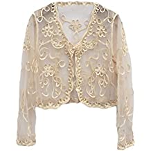 Donna Bolero Di Pizzo Filato Netto Trasparente Elegante Da Cerimonia  Cardigan Manica Lunga Moda Abbigliamento Coprispalle 68941bf60563