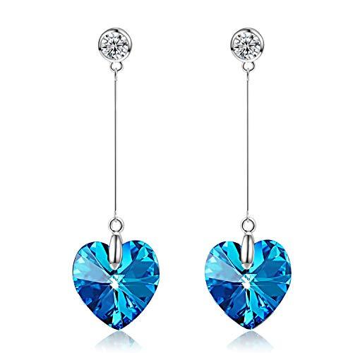 Dinoka cuore dell' oceano orecchini donne, cristalli di swarovski blu, gioielli donna, regalo donna,regali natale confezione regalo elegante