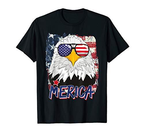 Amerikanischer Weisskopfseeadler Merica Fahne Sonnenbrille T-Shirt
