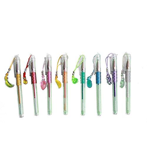 Set di 8 penne gel profumate, con portachiavi a forma di frutti assortiti