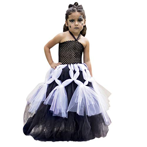 Ninja Spinne Kostüm - Cuteelf Halloween Kleid Kind Kind Baby Mädchen Halloween Spinne Cosplay Tutu Kleid Party Kleidung Kinder Ärmel Doppel Halloween Spinne Cosplay Mesh Kleid Festival Performance