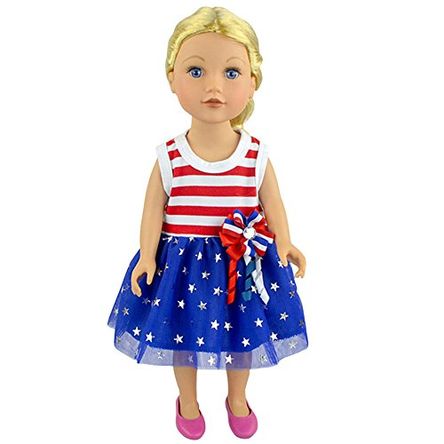 FUNDIY Handmade Red and White Striped Blue Stars Big Flower US Flag Costumes Outfits Dress Fit for American Girl 18 inch Doll (Costume Ball Barbie)