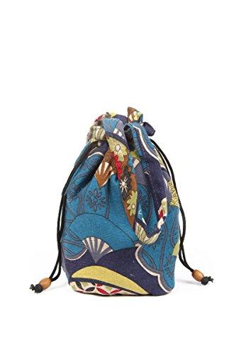 YuanDian Donna Nazionale Del Vento Retrò Stampa Mini Borsa Secchiello Spalla Mano Shopper Bucket Bag Con Tracolla Blu