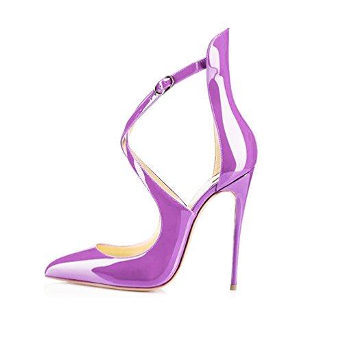 EDEFS Femmes Chaussures à Bout Pointu Cross Bride De Cheville Escarpins de mariee mariage Violet