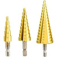 Moxiever Juego de Brocas Escalonadas para Taladro de Titanio de Acero de Alta Velocidad, 3 piezas de 4-12/4-20/4-32 mm para set de herramientas de corte