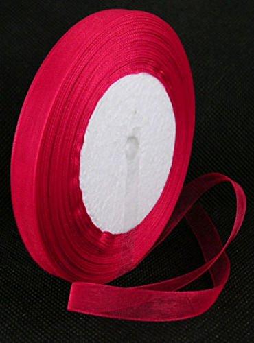 0,9x 45,7m-Nastro di organza rosso brillante-12mm di larghezza, 45,7m per rotolo-45m/45metri, perline e ciondoli