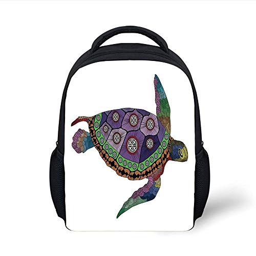 Kids School Backpack Psychedelic Decor,Sea Turtle Colorful Ornamental Tattoos on Animal Art Work,Purple Orange Pink Plain Bookbag Travel Daypack
