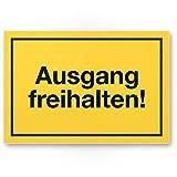 Ausgang freihalten Kunststoff Schild (gelb, 30 x 20cm), Hinweisschild Tür von Eingängen/Ausgängen, Warnhinweis Parken verboten, abstellen verboten, Eingang freihalten