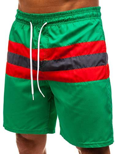 Bolf pantaloncini da bagno - con coulisse - inserti contrastanti - colorati - stile sportivo - da uomo mhm 256 verdi 3xl [7g7]