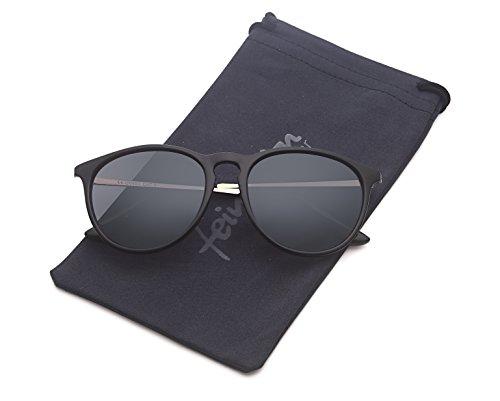 Vintage Sonnenbrille im 60er Style mit trendigen bronzefarbenden Metallbügeln Panto - Retro Brille (polarisiert-schwarz-ohne-Verlauf)