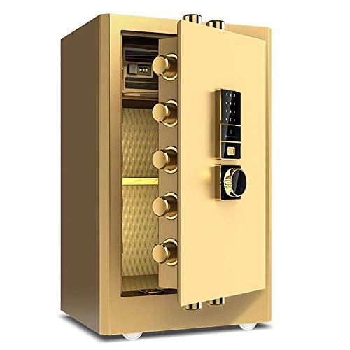 HYYQG Elektronischer Safe Sicherheit Große Kapazität hohe Sicherheit alle Stahl Biometrische Fingerprint LED Anzeige für Home Office Hotel Schmuck Gun Cash Medikamente, Gold (Safe Gun Led)